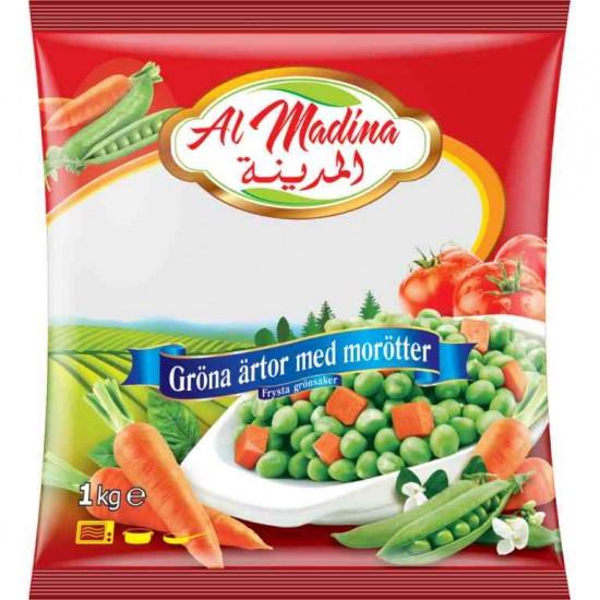 Al Madina frysta gröna ärter med morötter 1kg